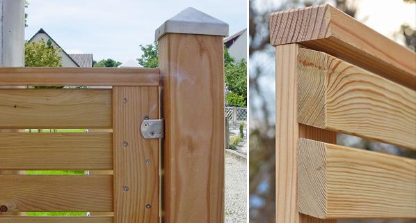 sichtschutz s h tore und systempfosten aus l rche. Black Bedroom Furniture Sets. Home Design Ideas